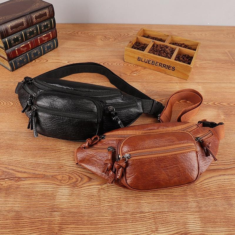 Est Style Men Donne Borse in vita PU Black Solid Fanny Pack Travel Belt Borsa Borsa a spalla Borsa tote