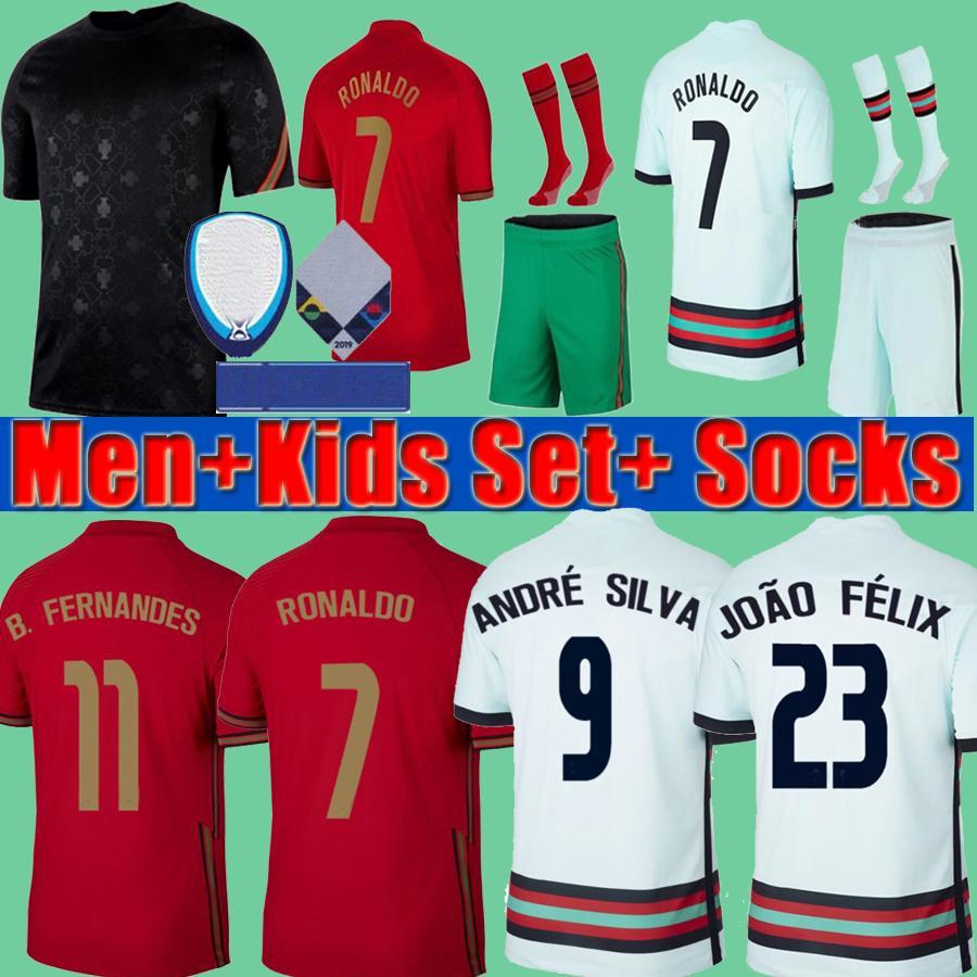 Portugal 2020 Portogallo EURO Kupası Erkekler + Çocuklar RONALDO Fernandes 2021 Soccer formaları 20 21 André Silva Joao Felix PEPE DANILO Futbol Gömlek kitleri seti