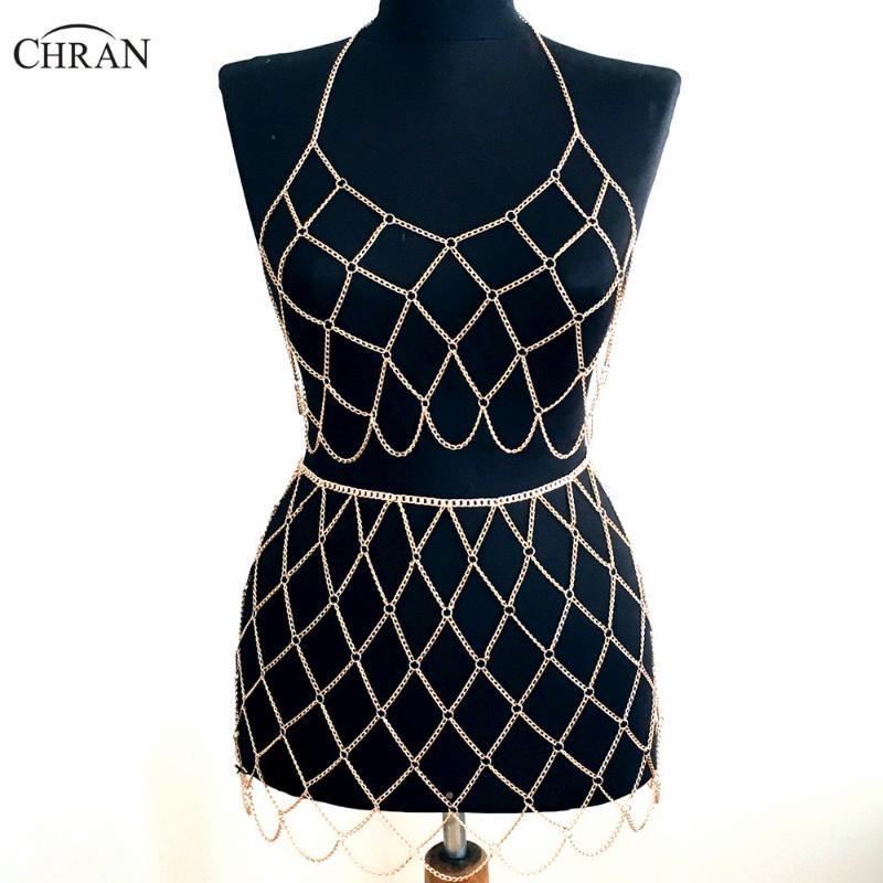 Chran Beach Chain Bra Skirt Harness Necklace Bikini Body Belly Waist Chainmail Bralette Dress EDM Wear Festival Jewelry CRBJ912 Chains