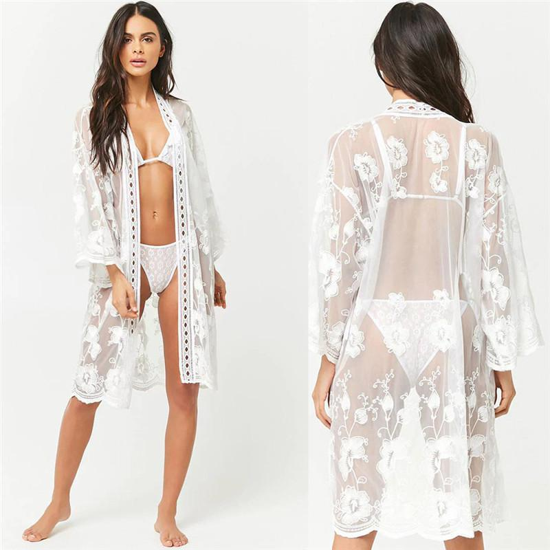 Womens Boho Beach Summer Lace Tops And Blouses Elegant Kaftan Transparent Kimono Cardigan Femme Lacies Playa Party Clothing Women's & Shirts