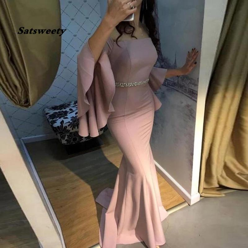Mermaid Evening Dress Strapless Flare Sleeves Beaded Sashes Mother of the Bride Prom Gown Formal Party Dresses 2021