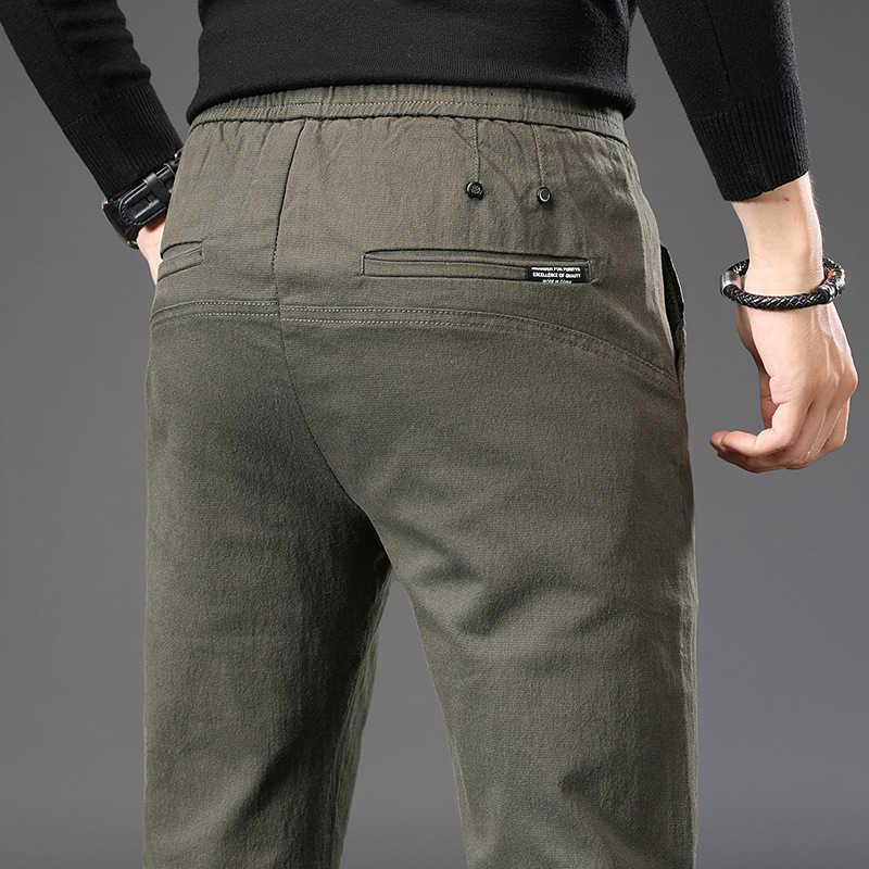 Fashion Trend Hommes Pantalon Casual Petits pieds Pantalons Automne et hiver Elastique Elastic Taille Elastic Couleur Solide Pantalons longs 210531