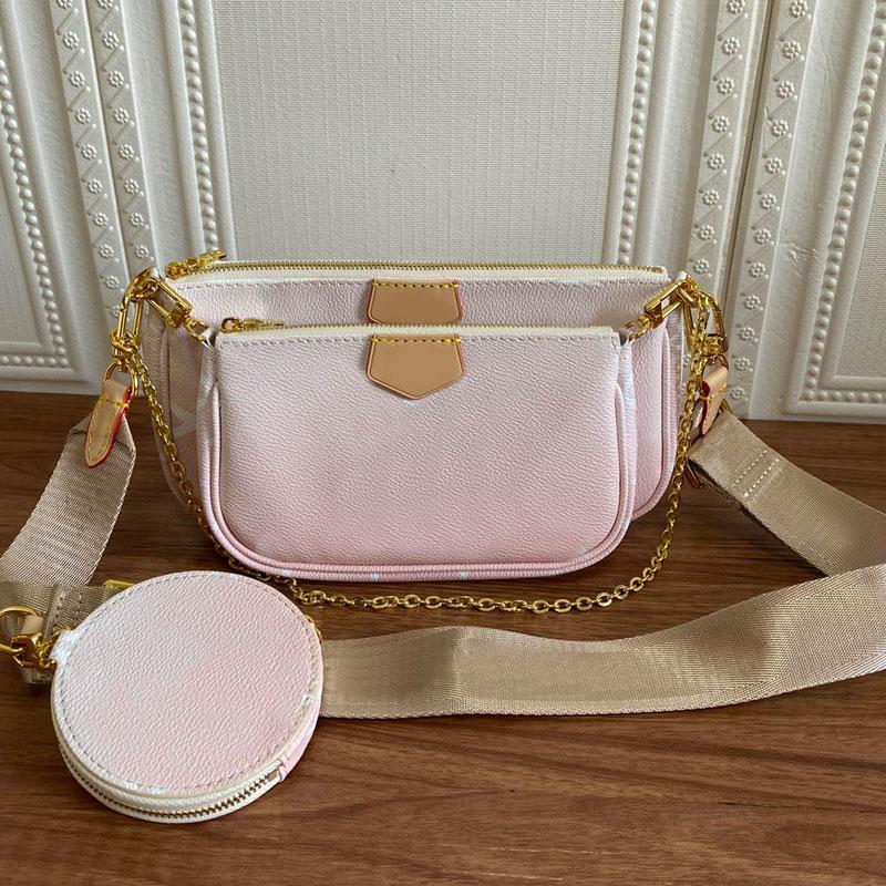 여성 메신저 가방 클러치 백 라운드 지퍼 포켓 지갑 정품 가죽 인쇄 편지 3 그림 핑크 블루 조정 가능한 자카드 어깨 끈
