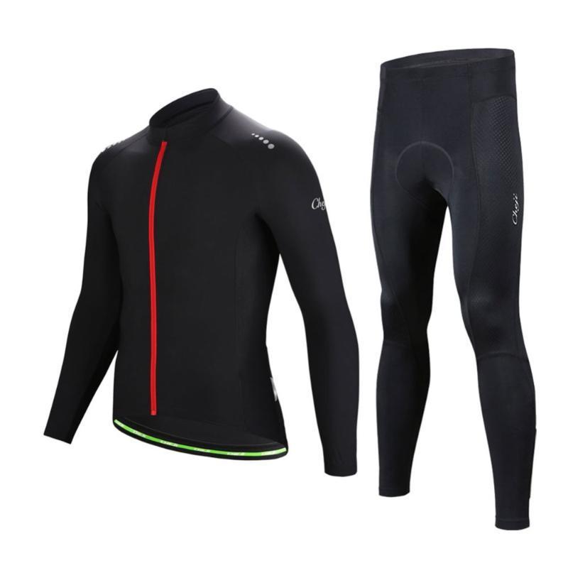 Racing Ensembles Manches Longues Mens Vélo Jersey Pure Noir Haute Élastique Élastique T-shirts à vélo à sec Spring Automne Vêtements de vélo Tops Set