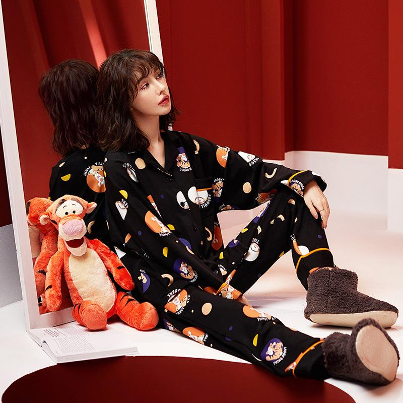 Runma Pajama's Spring and Autumn 2021 Pure Cotton Long Sleeve Suit Black High-grade Feeling Can Be Worn Outside Home Cloth