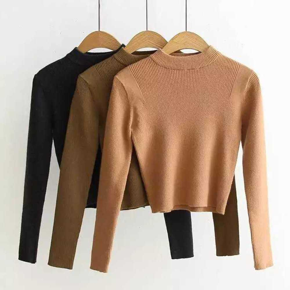 The same sweater for the evening, women's round neck pullover, tight long sleeve T-shirt, half length skirt suit, slim fitting