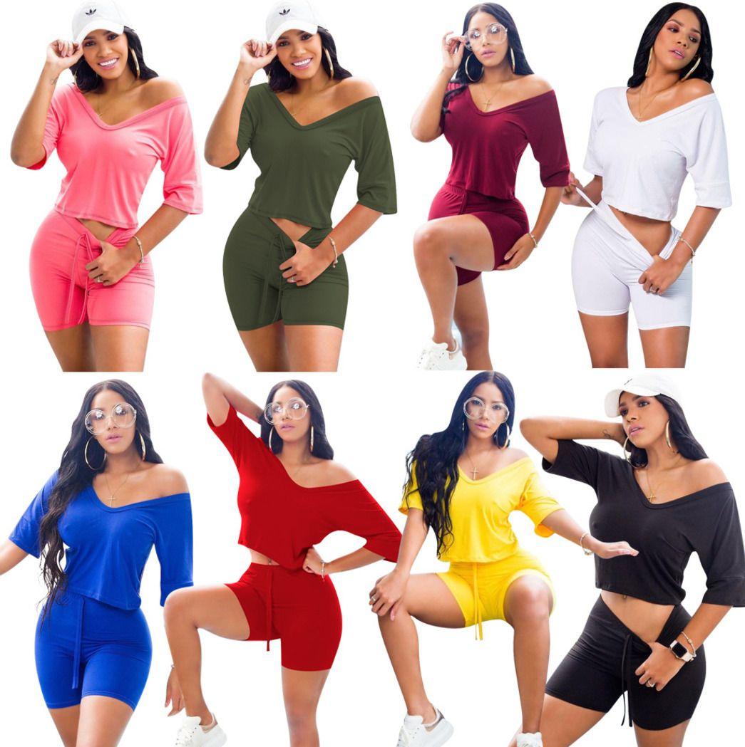 spring summer women sportwear 2 pieces set tracksuit new fashion casual solid color Shorts Set Ladies Jogging suit 8 colors