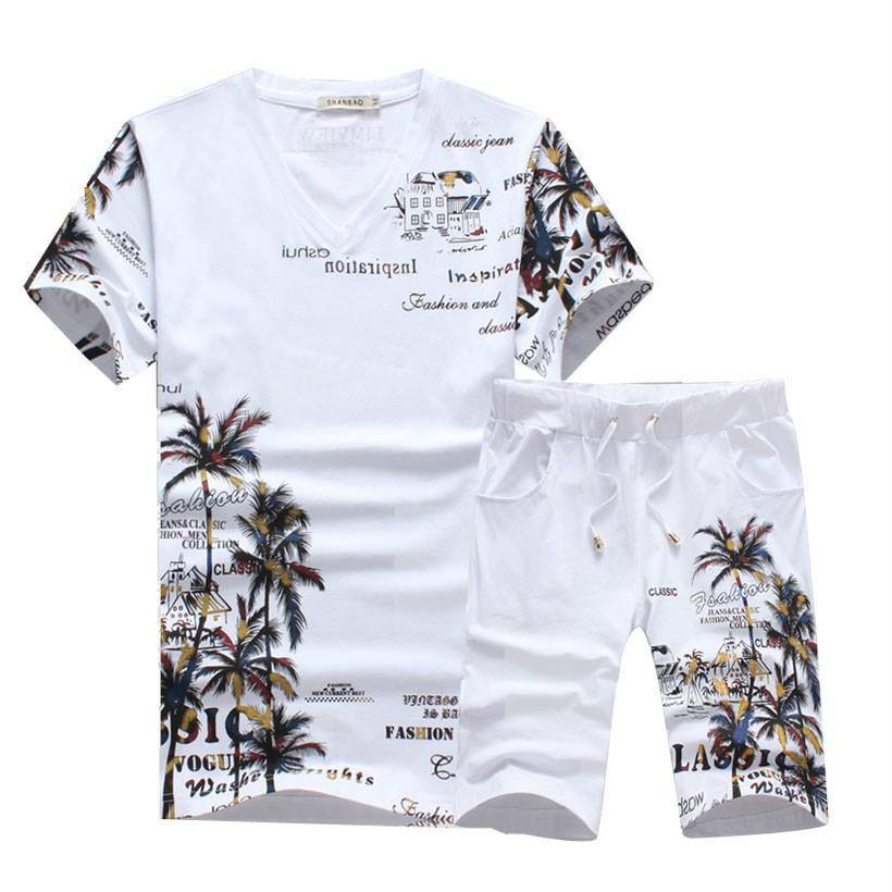 Yaz T Gömlek Şort Eşofman Erkekler Set Pamuk V Boyun Kısa Kollu Tshirt Kazak Pantolon Erkek Ter Suits Baskı Iki Parçalı Set T200611