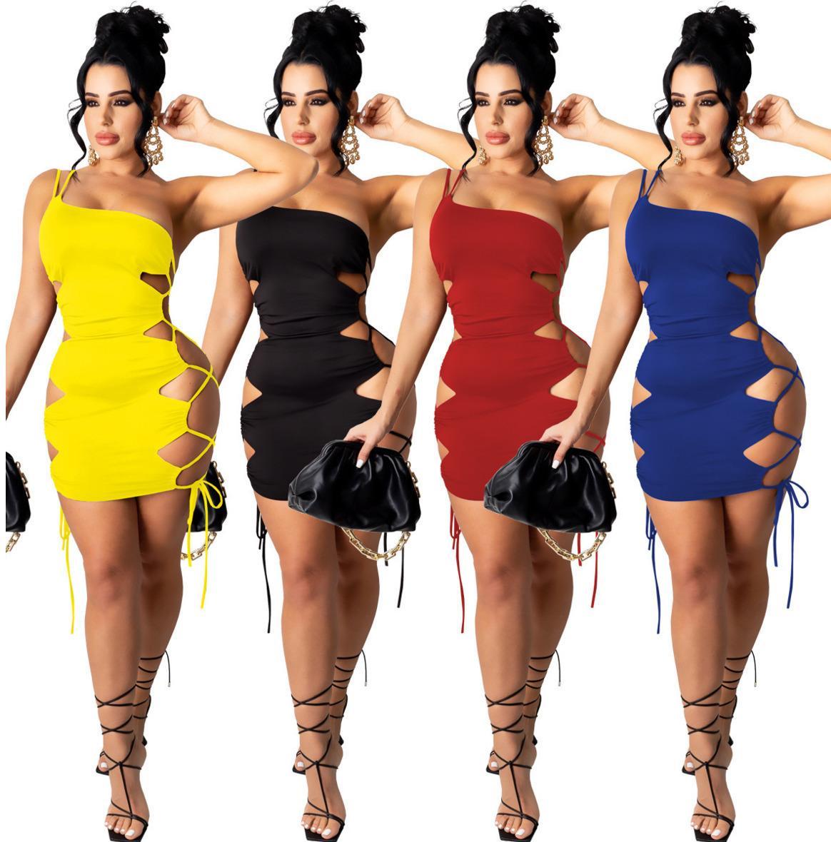 Mulheres Mulheres Sexy Vestidos Moda Sexy Temperamento Uma alça de ombro Cor Sólida Coro oco vestido plus tamanho T342