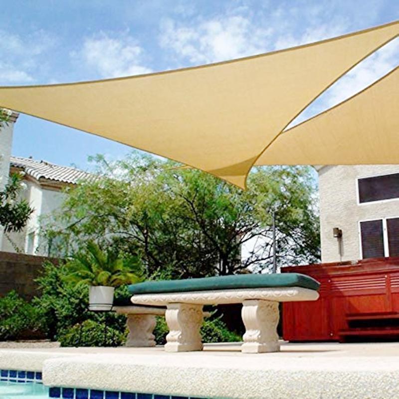 Shade Waterproof Sail Sun Canopy Cover Trilateral/Triangle 5x5x5M/2x2x2M Garden Yard Awnings Car Sunshade Cloth SummerHeavy