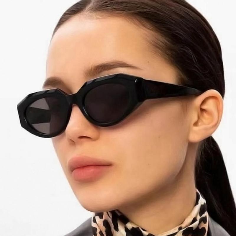 Óculos de sol femininos Simples retro gato olho poligonal aparado pequeno quadro mulheres tendência óculos elegantes