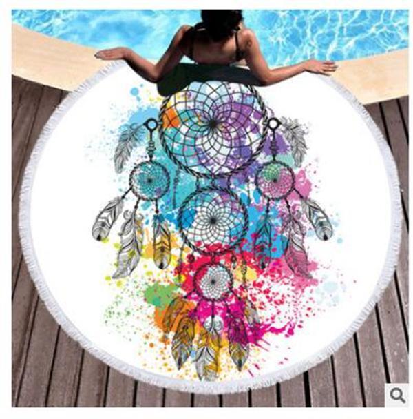 Blanket Beach Round Towel Picnic Cover Up Microfiber Mandala Tapestry Geometric Tassel Home Towels Bikini Shawl