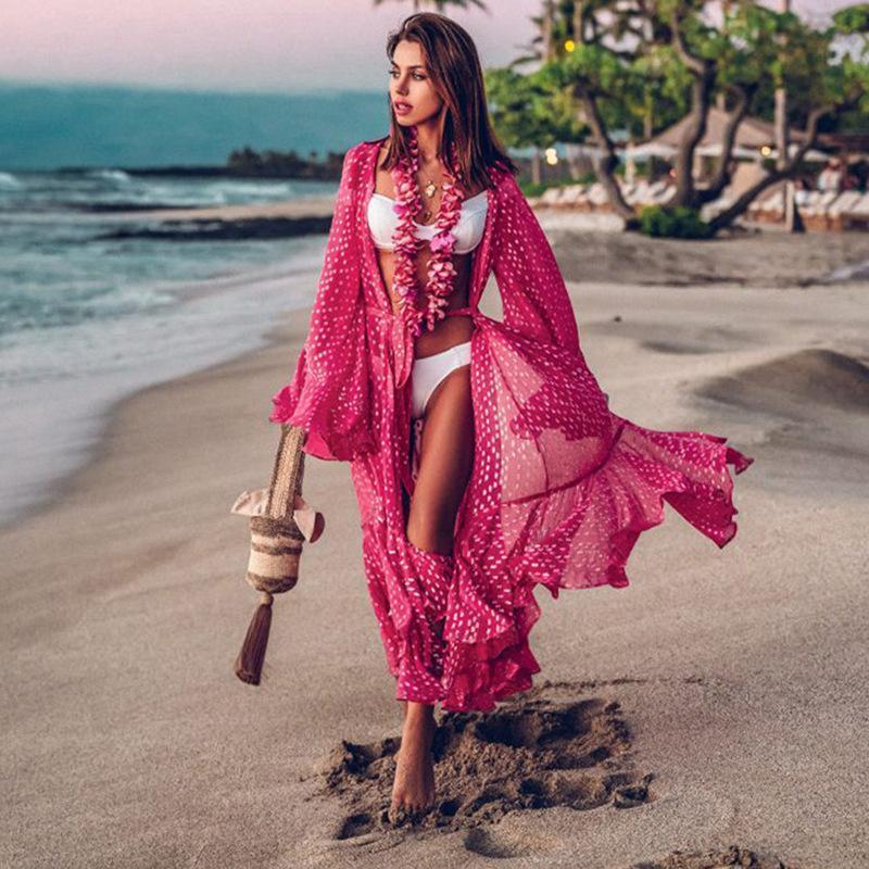 Mujer traje de baño cubierta de manga de manguito kaftan playa vestido de túnica roma de plagona volante punto impresión algodón pareo alto cuello playa ropa de baño de mujer