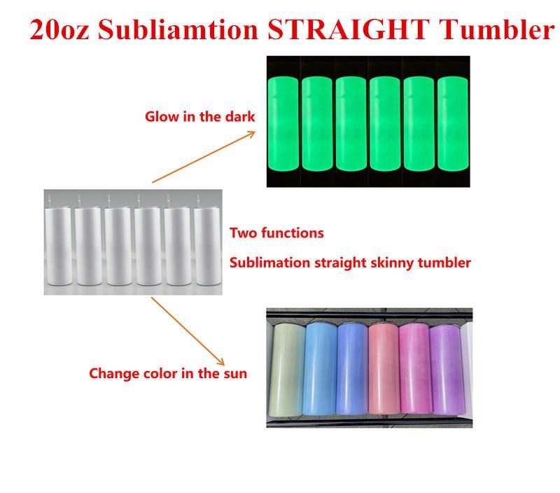 20oz التسامي مستقيم الأشعة فوق البنفسجية اللون تغيير بهلوان مع الضوء والتوهج الظلام الفولاذ المقاوم للصدأ الفولاذ فراغ مزدوج جدار كأس الشرب أكواب زجاجة ماء A14