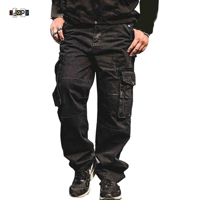 Idosos Homens Casuais Calças de Jeans de Carga Multi Pockets Punk Hip Hop Loose Fit Denim Calças Calças para Masculino Baggy Plus Size 30-46 210320
