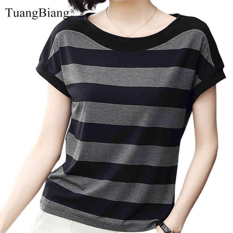 Pamuk Siyah Çizgili Kadınlar Yaz Gevşek T-Shirt 2021 Kadın Artı Boyutu Kısa Kollu Rahat O-Boyun Modal T Gömlek Bayanlar Yumuşak Tops 210312