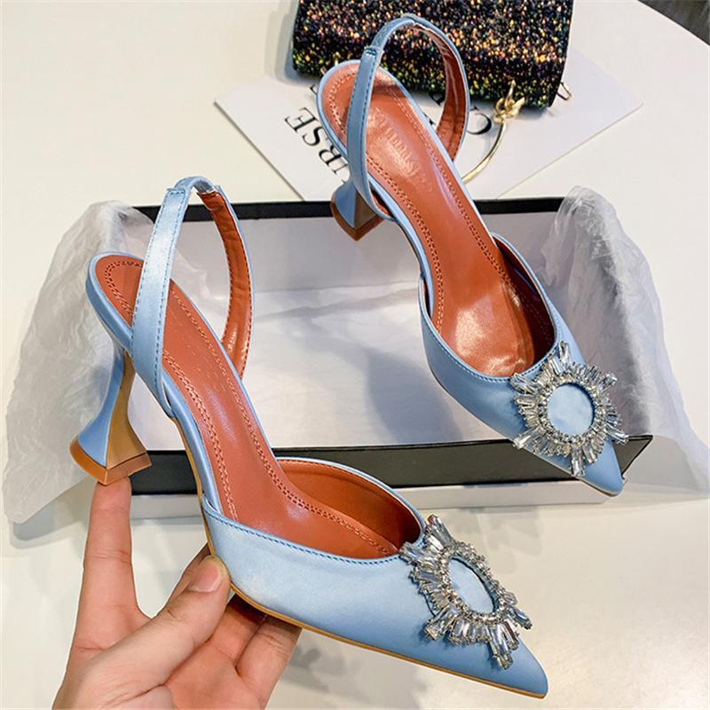 Sandalen Sommer Luxus Frauen 8 cm High Heels Silk Strap Kristall Stable Sandles Dame Sexy Glitter Slingback Blue Party Schuhe