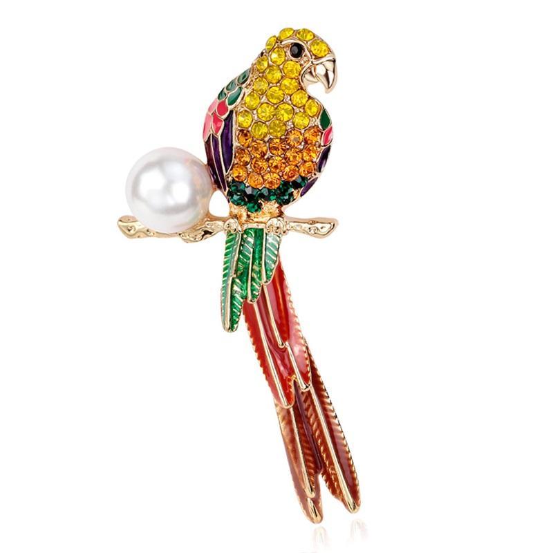 Tier Netter Kristall Email Perle Papagei Brosche Vögel Broschen Für Frauen Multi Farbe Strass Gold Überzogene Schmucksachen Schiff Schiff 204 U2