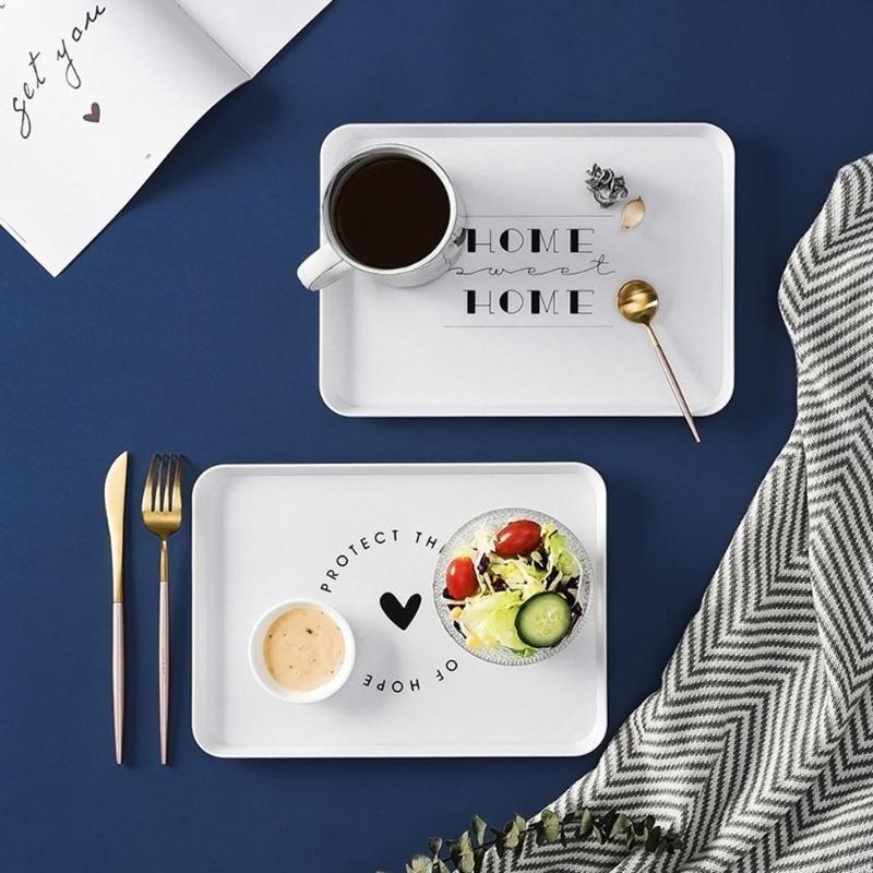 Mutfak Depolama Organizasyonu Nordic Tarzı Plastik Tatlı Servis Tepsi Çay Kahvaltı Ekmek Snack Plaka Plakaları Kare Aksesuarları Kozmetik
