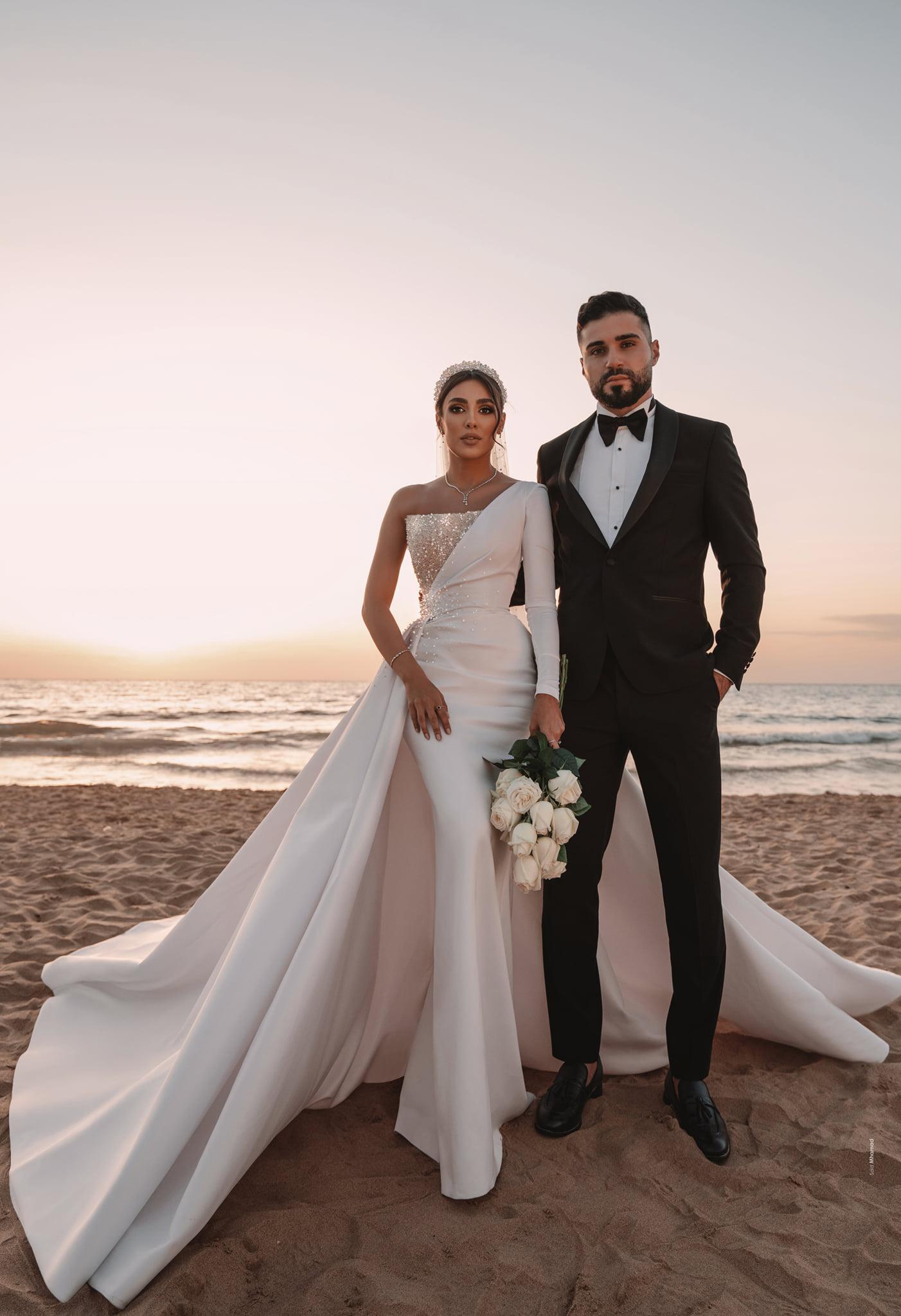 Dubaï White Pearl Mermes De Mariage Robes De Mariée Robe Une épaule À Manches Longues Lumière Gold Saisinée Robes de mariée Saisissable Vestine de Novia