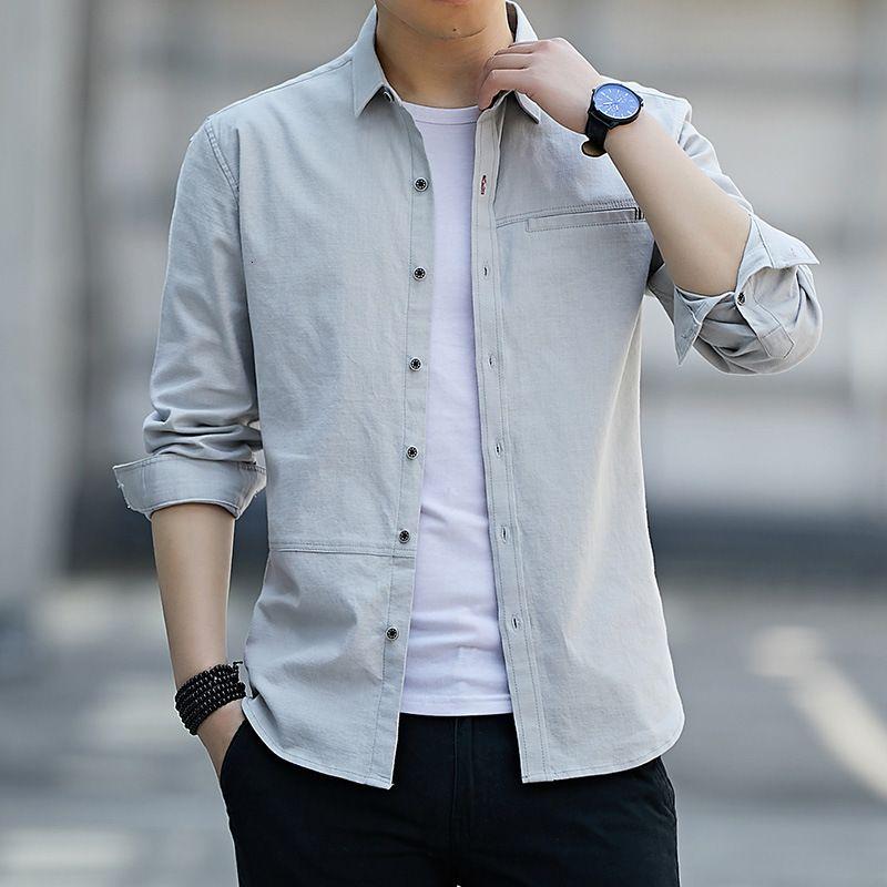 Camisa de manga larga para hombre Color sólido de hombre Slim Slim Negocio Ninguna camisa de hierro Top joven