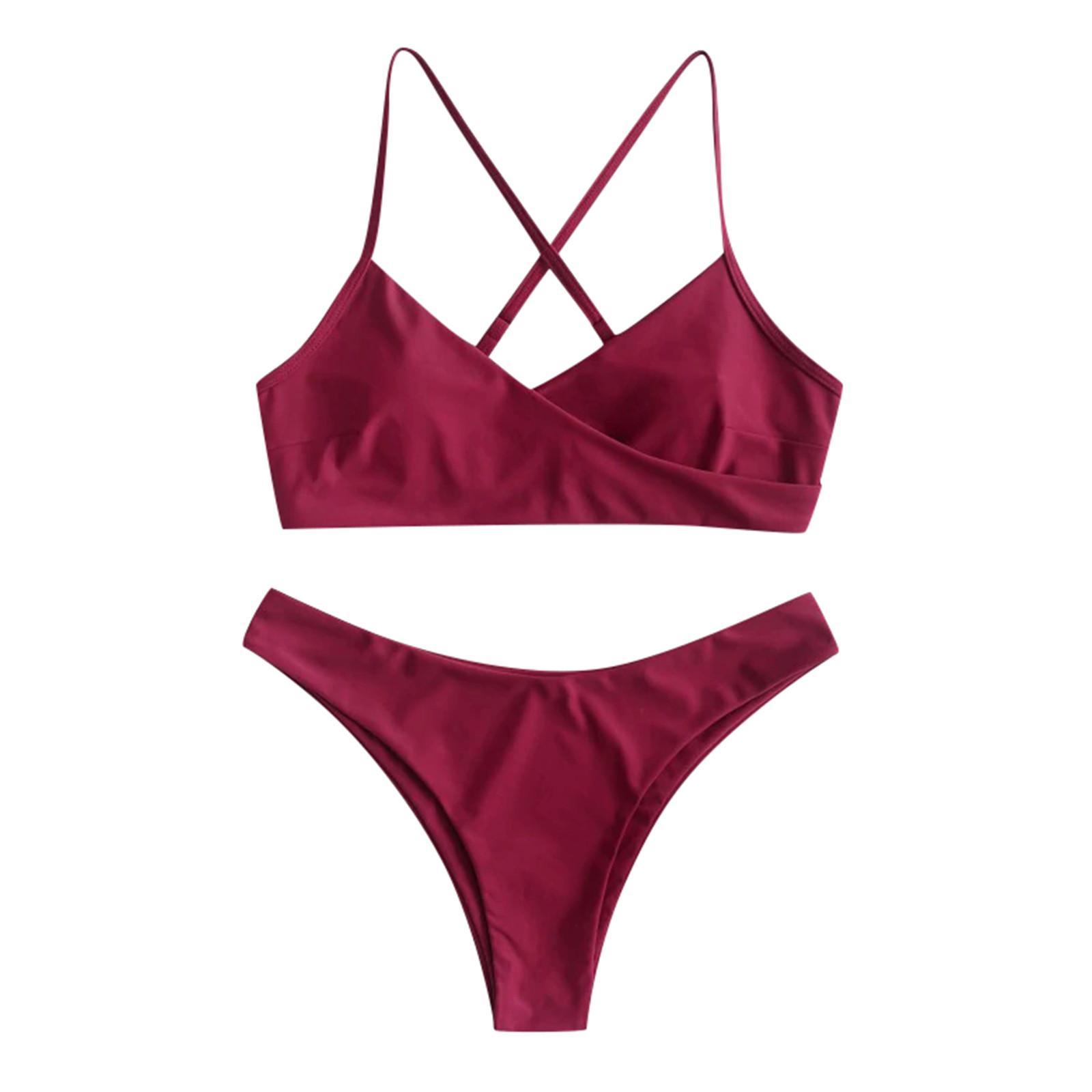 Femmes deux pièces feuilles d'impression Split Split Ensembles Plus Taille Maillot de bain Beach Maillot de bain Bikini Maillots de bain Femmes 2021 Suit Plage Suit
