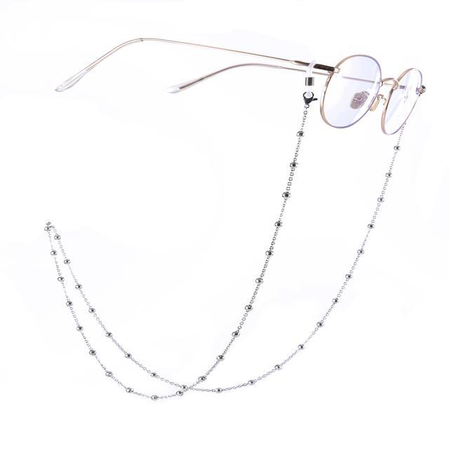 Beads Sunglasses Chain Stainless Steel Femme Eyeglasses Metal Lanyard Neck Holding Anti-Slip Strap Glasses Chain