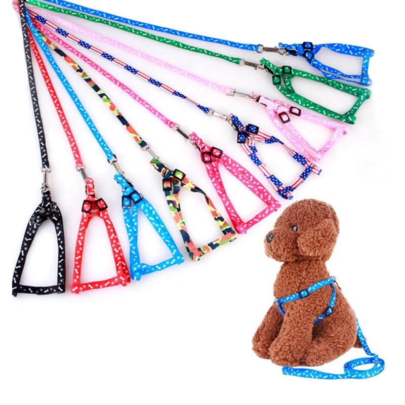 Cuellos de perro Correas y arnés Juego de nylon ajustable para perros pequeños Gatos Coloridas correas de pecho Impreso Cuerda de tracción Cuerda de correa de mascotas WLL423