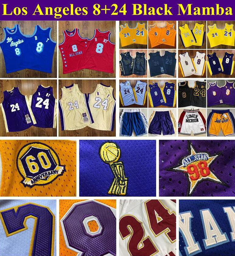 Hommes maillots de basketball cousus Los 24angeles 8 BlackMamba Mitchellness 96-97 00-01 07-08 08-09 09-10 ALL-STAR BOODWOODS CLASSIC RETRO JERSEY et Just Don Shorts S-2XL