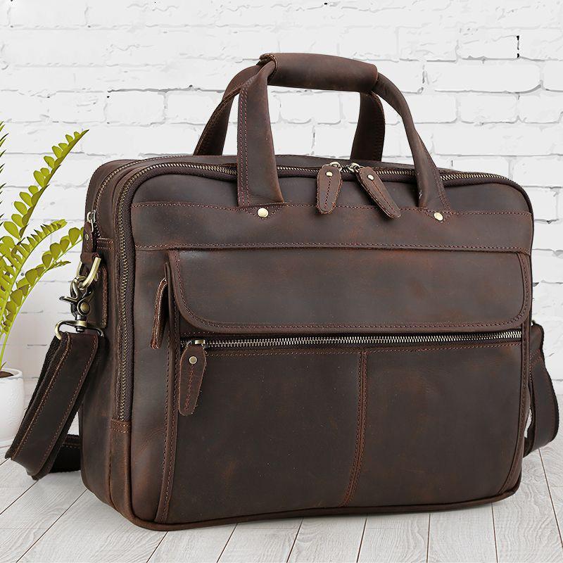 Evrak Çantaları Hakiki Deri 16 inç Bilgisayar Iş Evrak Çantası Adam Çanta Katı Ofis Çantaları Erkekler Için Laptop Çantası Maletines Hombre1 W5JT