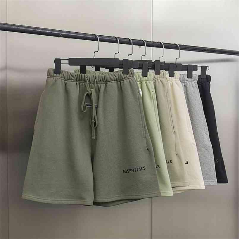 SS21 erkek şort moda yüksek sokak marka 100% pamuk yansıtıcı mektup hip hop gevşek boy unisex rahat hoodie 210716