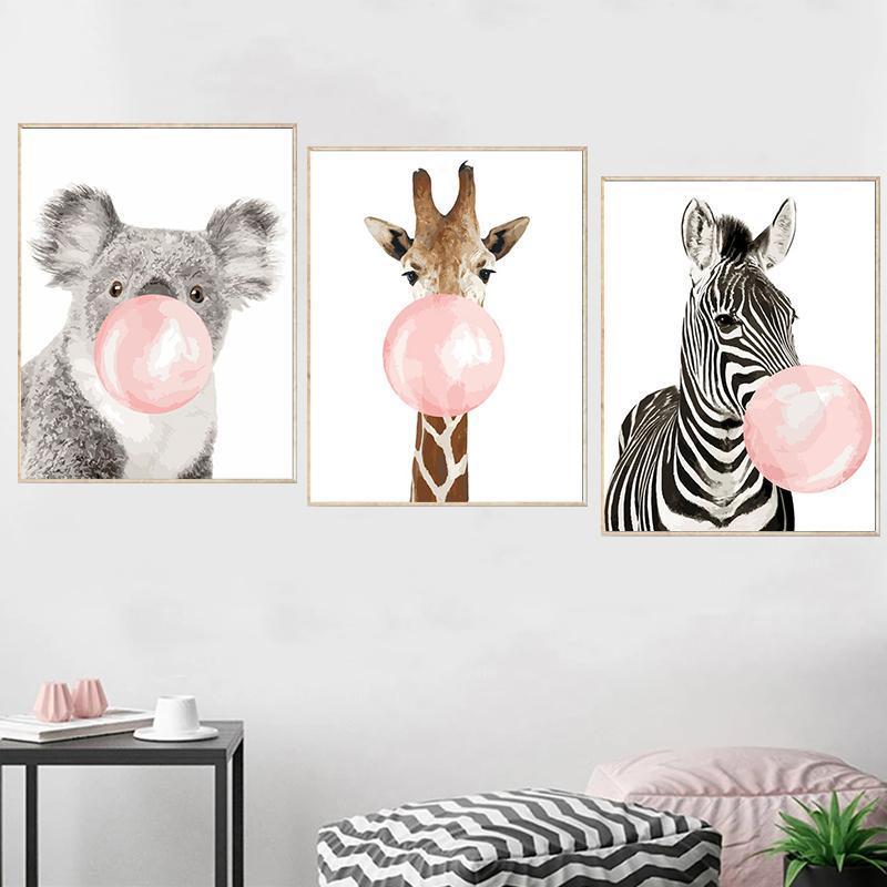 Gatyztory 3pcs Paint by Numbers For Adulti Bambini Bolla Animale Animale Olio Pittura a olio Canvas Regalo FAI DA TE Home Decor 4050 cm dipinti