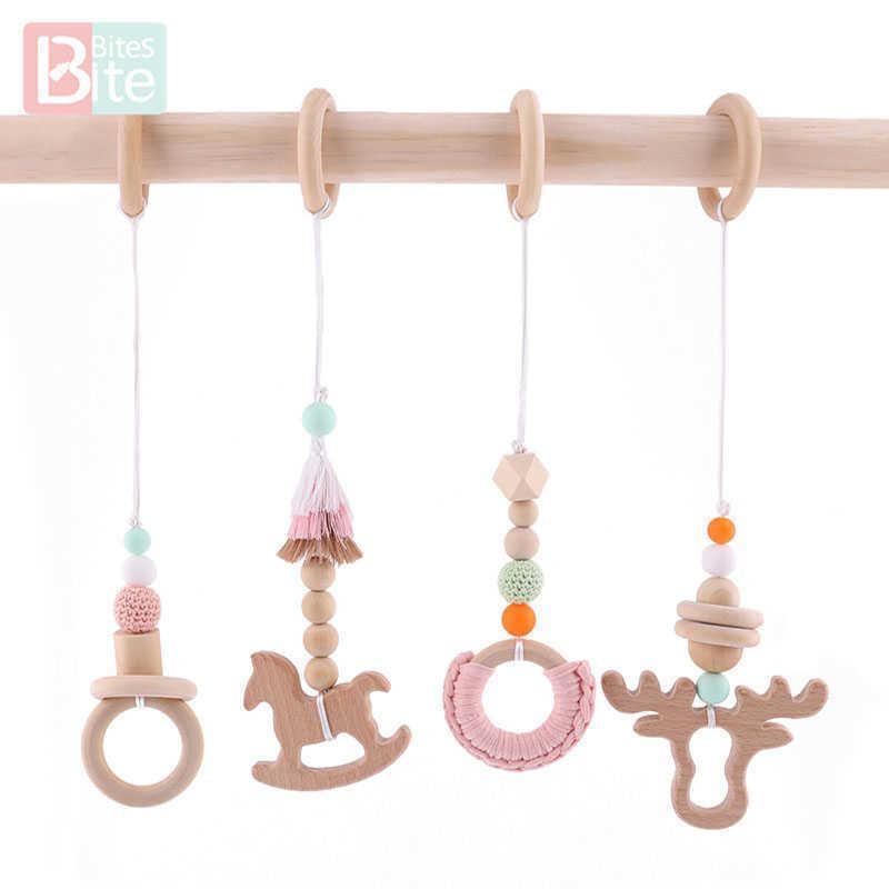 Biss Bites Buche Hölzernes Spielzeug Mobile Hängende Baby Pädagogische Krippe Rasseln Kind Pflege Geschenk