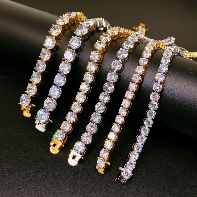 Link, Chain Tennis Stainless Steel Zircon Bracelet HipHop Bling Silver Gold Color Men Women 8 Inch Bracelets Fashion Jewelry