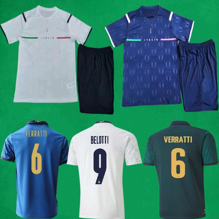 21 22 إيطاليا لكرة القدم الفانيلة السراويل المنزل بعيدا 2021 2022 فيراتي شارة جورجينو لكرة القدم مجموعات ايطاليا حارس المرمى الرجال + أطفال قمصان أطقم مايلوت القدم