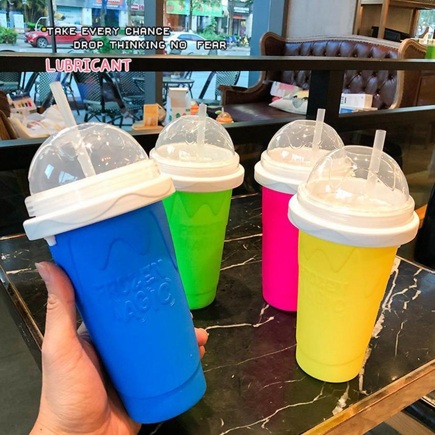 Coupes de silicone de réfrigération Smoothie Tasse Smoothie Shake Builer Pinch Tourné en Main de la glace Make Main de la glace broyée Gumbler 4 couleurs 23PCS LLA735