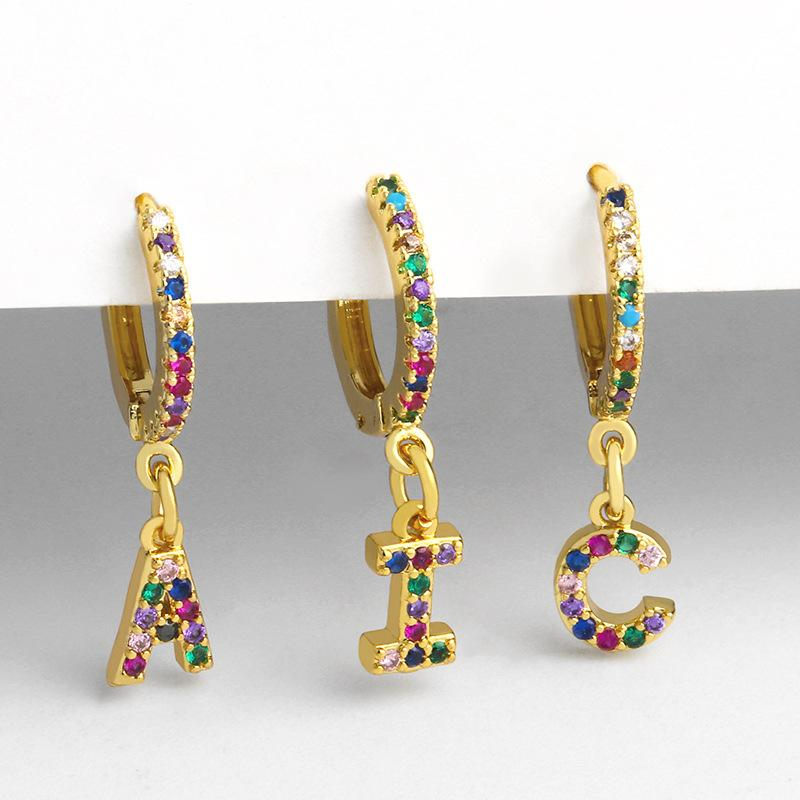 Fashion 26 Alphabet Multicolor Crystal Gold Hoop Earings For Women A-Z Letter Circle Small Earrings Jewelry Gift