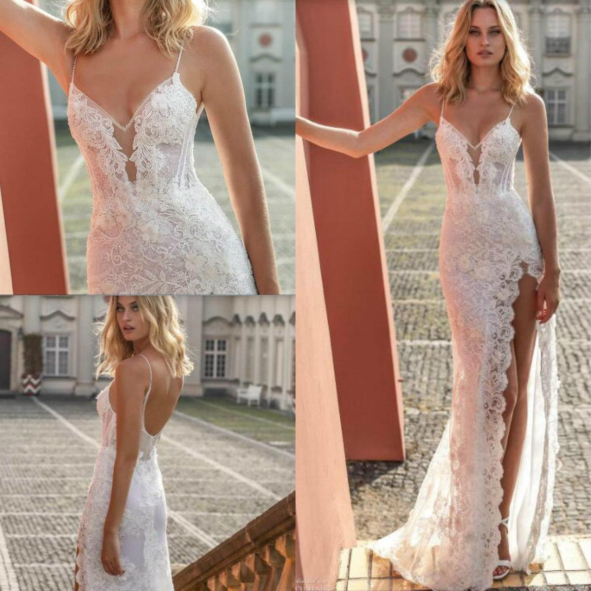 2020 spaghetti beach robes de mariée cuisse haute dentelle fente 3D floral appliques sirène robe de mariée robe sans dos sexy boho robe de mariée