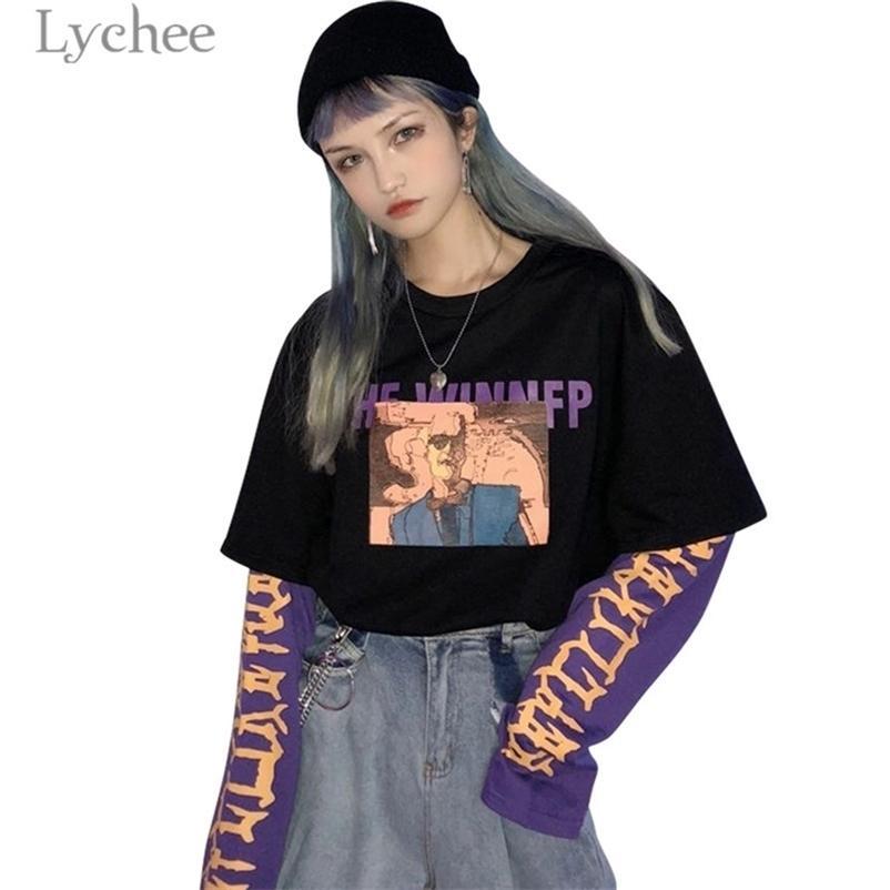 Lychee vintage falso 2 peças personagem letra letra mulheres moletom bateu cor o-pescoço manga comprida outono casual fêmea solta pulôveres y200106
