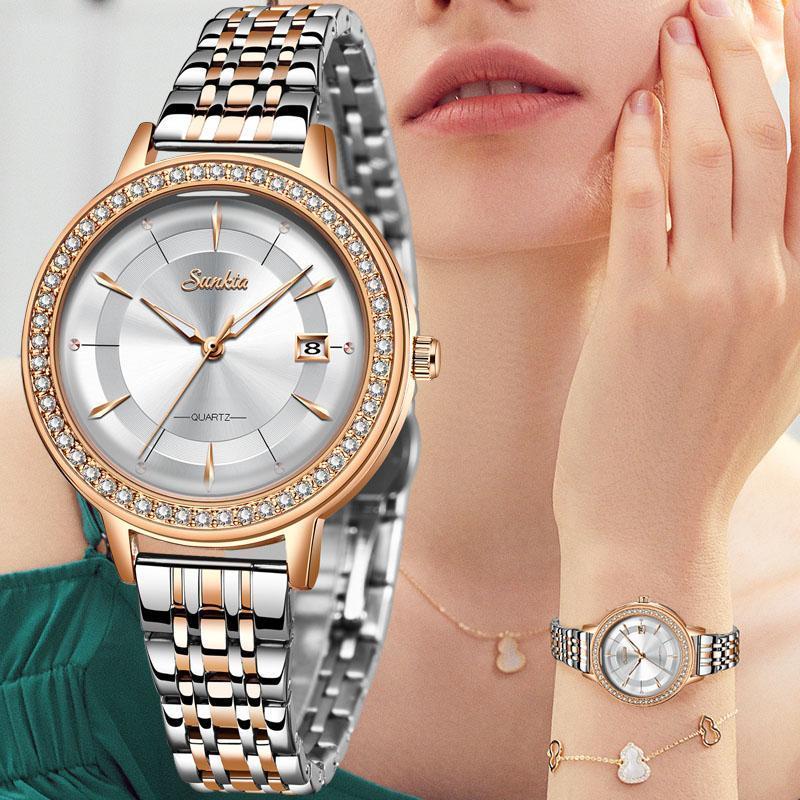 ساعات المعصم Sunkta المرأة ووتش 2021 أعلى بيع الذهب أزياء السيدات كبير الماس سوار هدايا zegarek damski reloj
