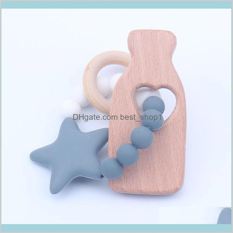Est Infant Silicone Star Chew Nursing Bracelet For Baby Wooden Teethers Rattle Stroller Accessories Toys Kids Maternity Iwkvr