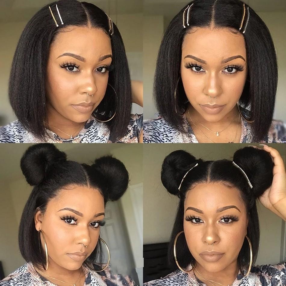 Mongolian U Part Bob Wigs Short Kinky Straight Human Hair Wig For Black Women Coarse Yaki Glueless