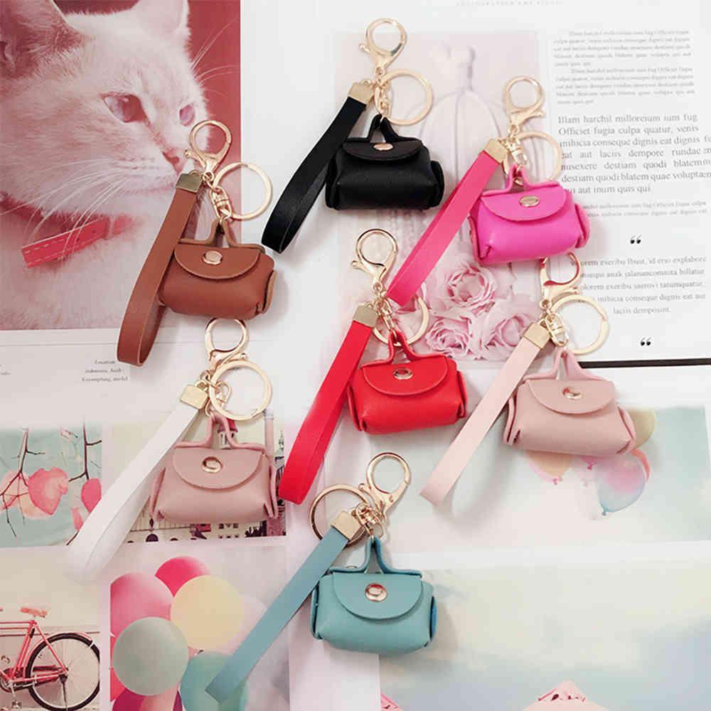 Sevimli Kawaii Mini Çanta Anahtarlık Yaratıcı Anahtarlık Kadın Araba Çanta Kolye Anahtarlıklar Hediye PU Deri Küçük Çanta Sikke Çantalar