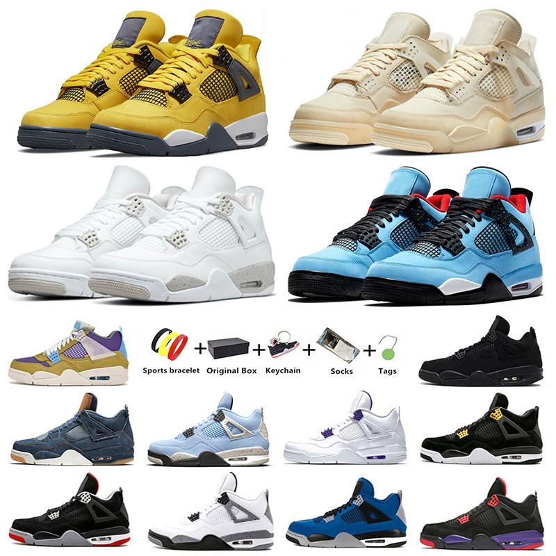 Jumpman 4 4s mens basketball shoes Cactus Jack White Oreo Sail University Blue Taupe Haze Metallic Royalty men women trainers sports sneakers Black Cat Bred With Box