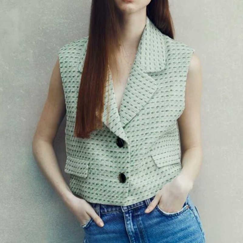 ZA frauen mode grüne textur cropped weste gekerbte kragen sleeveless weibliche weste schicke tops bb1418 210603