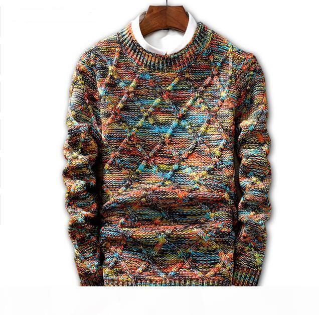 Jin jue les sweater homens 2018 moda pulôver camisola masculina o-pescoço listra magro fit knitting homens suéteres homem pulôver homens