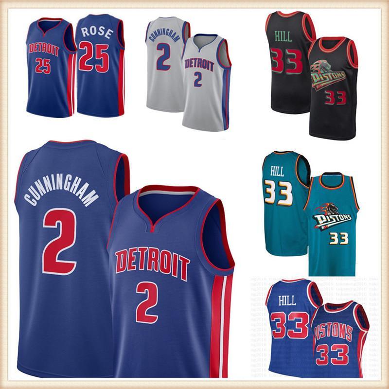 "CADE 2 CUNNINGHAM JERSEY DETROIT ""PISTONES"" Jerseys de baloncesto Grant 33 Hill Derrick 25 Rose Isiah 11 Thomas Dennis10 Hombres de Rodman"