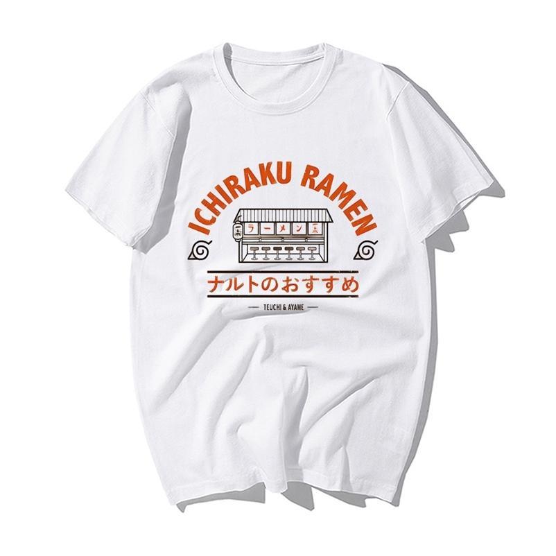 Komik Naruto Japon Anime T Gömlek Moda Naruto Uzumaki Ichiraku Ramen Baskı Tişört Erkekler Yaz Pamuk Hip Hop Tişörtleri 210319