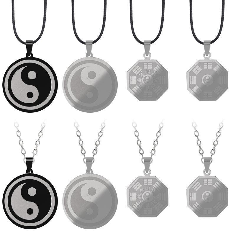 Yin Yang Tai Chi Gossip colar para homens mulheres de aço inoxidável pingente de moda charme colares jóias presentes gota correntes