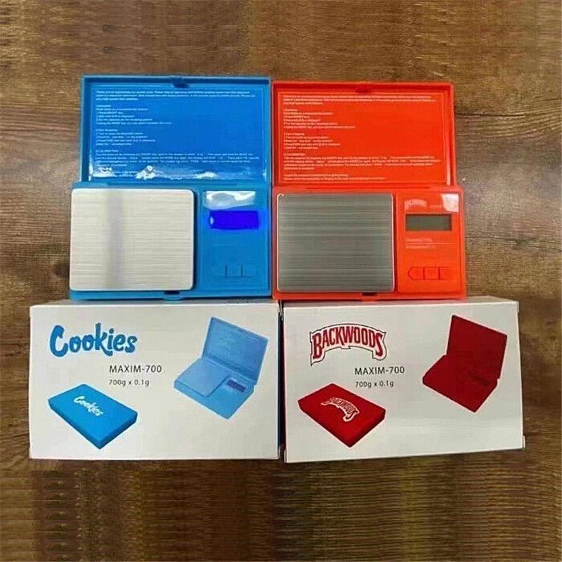 쿠키 백우즈 전자 스케일 700g 0.1g 쥬얼리 골드 담배 숨김 무게 vapes 측정 장치 디지털 전자 무게 균형 플립 스타일 키트